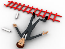 3d man fall from stairs with paper scrolls concept Royalty Free Stock Photo