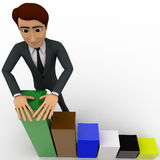 3d man with falling bar graph concept Royalty Free Stock Photography