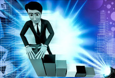 3d man with falling bar graph illustration Royalty Free Stock Image