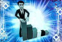 3d man with falling bar graph illustration Royalty Free Stock Images