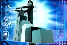 3d man with falling bar graph illustration Royalty Free Stock Photos