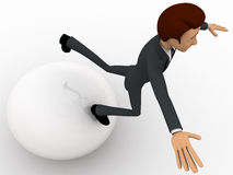 3d man falling from big ball concept Stock Image