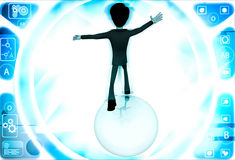 3d man falling from big ball illustration Stock Photography