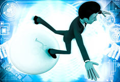 3d man falling from big ball illustration Royalty Free Stock Photography
