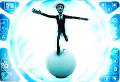 3d man falling from big ball illustration Stock Photo