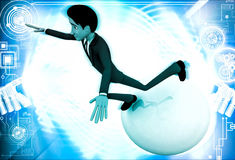 3d man falling from big ball illustration Royalty Free Stock Images