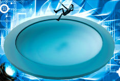 3d man falling into big water hole illustration Stock Images
