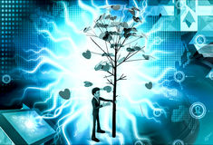 3d man falling leaves from tree concept Royalty Free Stock Photo