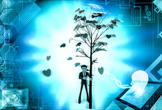 3d man falling leaves from tree concept Royalty Free Stock Image