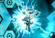 3d man falling leaves from tree concept Royalty Free Stock Photos