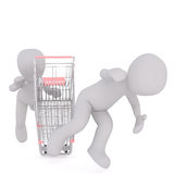 3D man falling off shopping cart Royalty Free Stock Photos
