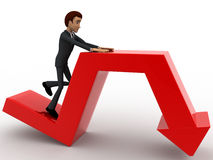 3d man on falling red arrow concept Stock Photography