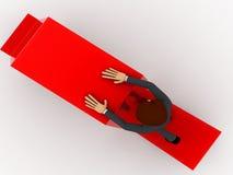3d man on falling red arrow concept Stock Photos