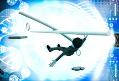 3d man falling from rope and can not balance euro and dollar illustration Stock Photography