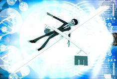 3d man falling from rope and can not balance euro and dollar illustration Royalty Free Stock Photos