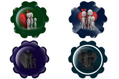 3D Man family heart concept icon Royalty Free Stock Images