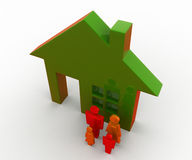 3d man family standing out side house concept Stock Photography