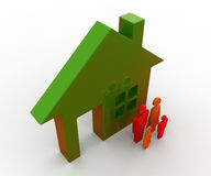 3d man family standing out side house concept Royalty Free Stock Images
