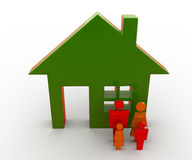 3d man family standing out side house concept Royalty Free Stock Image