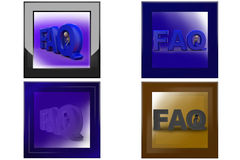 3d man FAQ text icon Royalty Free Stock Images