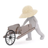 3D man farmer with antique wheelbarrow. Figure of 3D man farmer or peasant in straw hat pushing antique wooden wheelbarrow, isolated on white background Royalty Free Stock Images