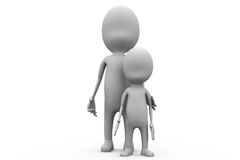 3d man father son concept Stock Photography