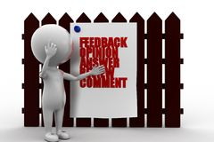 3d man feedback concept Royalty Free Stock Images