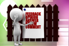 3d man feedback illustration Stock Image