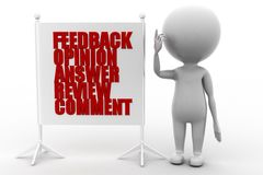 3d man feedback opinion answer review comment Stock Photos