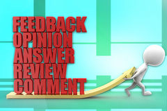 3d man feedback opinion answers review comment illustration Royalty Free Stock Photography