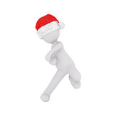 3d man in a festive Santa hat playing sport. 3d man in a festive red Santa hat celebrating the Christmas season playing sport swerving in motion, rendered Stock Images