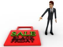 3d man figure at sale black friday bag concept Stock Image