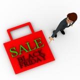 3d man figure at sale black friday bag concept Royalty Free Stock Photos