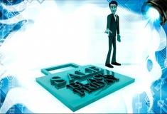3d man figure at sale black friday bag illustration Stock Images