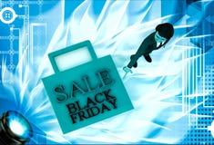 3d man figure at sale black friday bag illustration Stock Photography