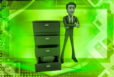 3d man with file drawer illustration Royalty Free Stock Images