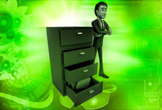 3d man with file drawer illustration Stock Image