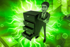 3d man with file drawer illustration Royalty Free Stock Photo