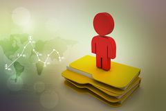3d man with file folder. In color background Stock Photo
