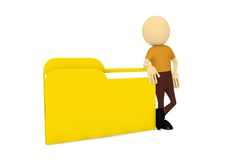 3d man with file folder. In white background Stock Photography