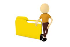 3d man with file folder Royalty Free Stock Photography