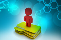 3d man with file folder. In white background Royalty Free Stock Photography