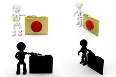 3d man file lock Concept Collections With Alpha And Shadow Channel Stock Photos