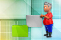 3d  man file to folder transfer illustration Royalty Free Stock Photos