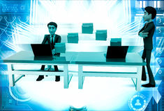 3d man file transfer between computer illustration Royalty Free Stock Photo