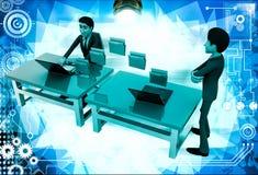 3d man file transfer between computer illustration Royalty Free Stock Image