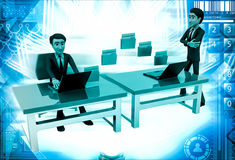 3d man file transfer between computer illustration Royalty Free Stock Photography