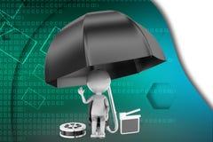 3d man film clap umbrella illustration Stock Image