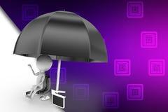 3d man film clap umbrella illustration Royalty Free Stock Photo
