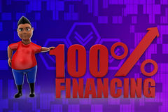 3d man 100% Financing illustration Royalty Free Stock Photos